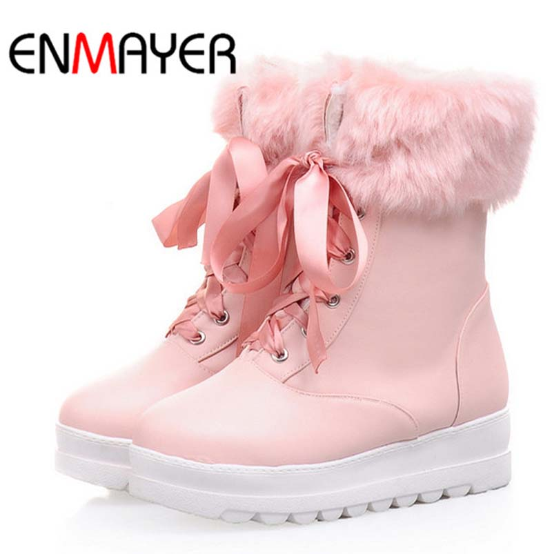 ENMAYER  black Beiges Pink Snow Boots For Women New Round Toe Med Winter Warm Platform Girl Student Martin Boots Shoes Women