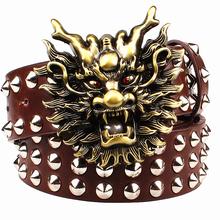 Buy Fashion big rivet belt metal buckle men's belts cartoon animal golden dragon head heavy metal style belt punk rock performance for $12.90 in AliExpress store
