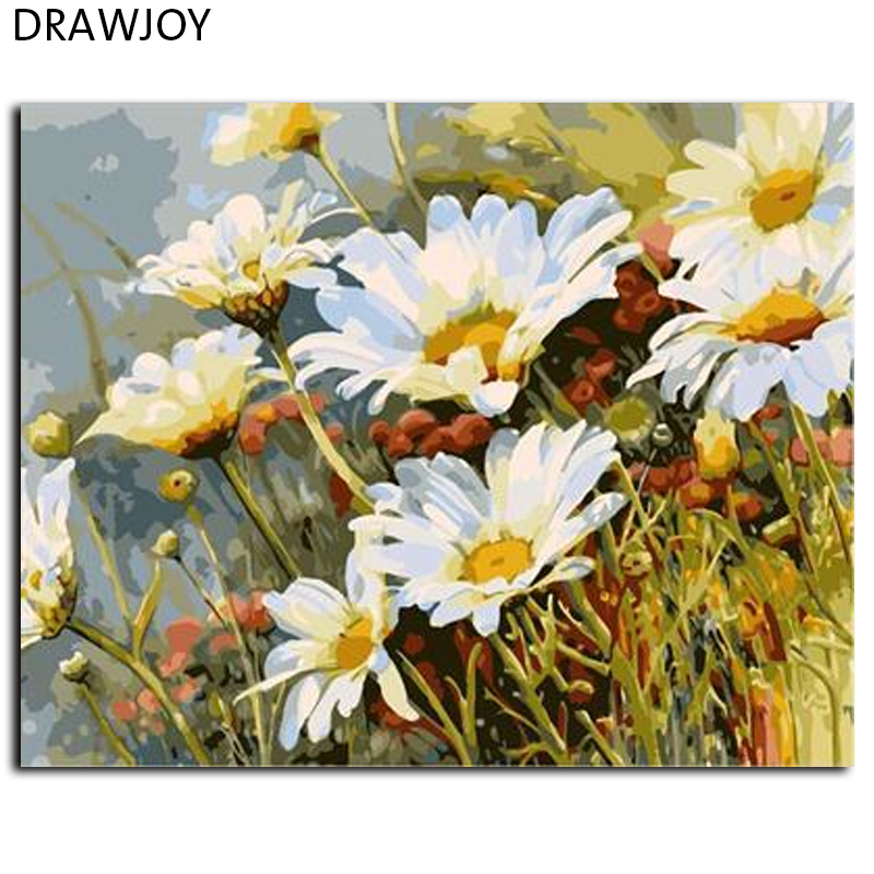 Flower Oil Painting Frameless Picture Painting By Numbers Wall Art DIY Canvas Oil Painting Home Decor For Living Room GX7077(China (Mainland))