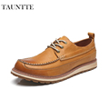 Tauntte 2017 New All Match Low Cut Genuine Leather Shoes Men Casual Work Shoes For Free