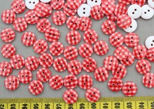 800pcs Resin chequer red Round sewing Buttons 2 holes 13mm bulk-you pick color