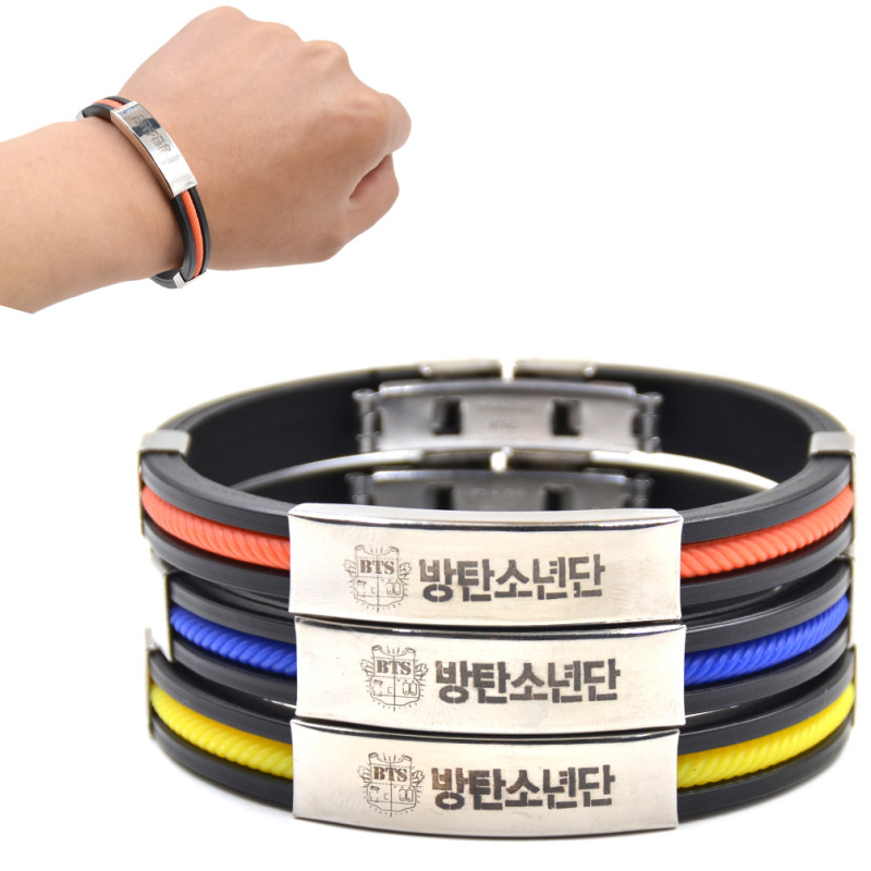lychee 1 piece hot kpop male group bts titanium steel pendant silicone bracelet bangtan boys fans - Support Our Troops Silicone Bracelet