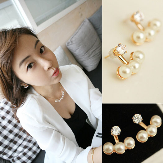The New Three Tablets After Hanging Earring Crystal Imitation Pearl Ball Stud Earrings C30R19(China (Mainland))