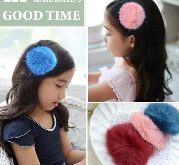 2015 Fashion Winter Fall Season Children Mink Hairpins Hair Clip/ Hairgrips/ Hair Accessories 50pcs/lot Mix Color Sent(China (Mainland))