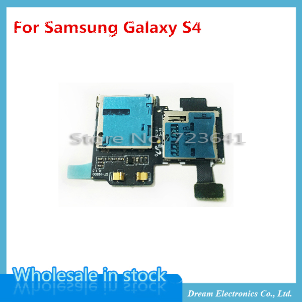 10pcs/lot NEW SIM Card Tray & Memory SD Card Holder Flex Cable Parts for Samsung Galaxy S4 i9500 & i9505(China (Mainland))