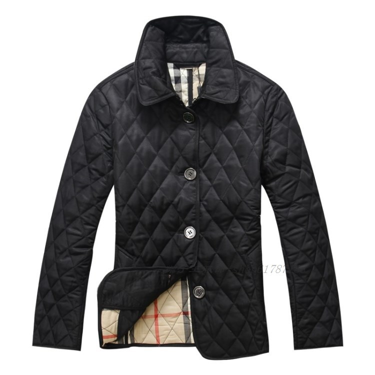 2015 Autumn Winter New European American style Cotton Small grid lady Jacket Fashion Slim Fit Coat