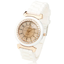 Hot New Geneva Women s Lady Girl Rhinestone Crystal Silicone Rubber Strap Band Analog Quartz Wrist