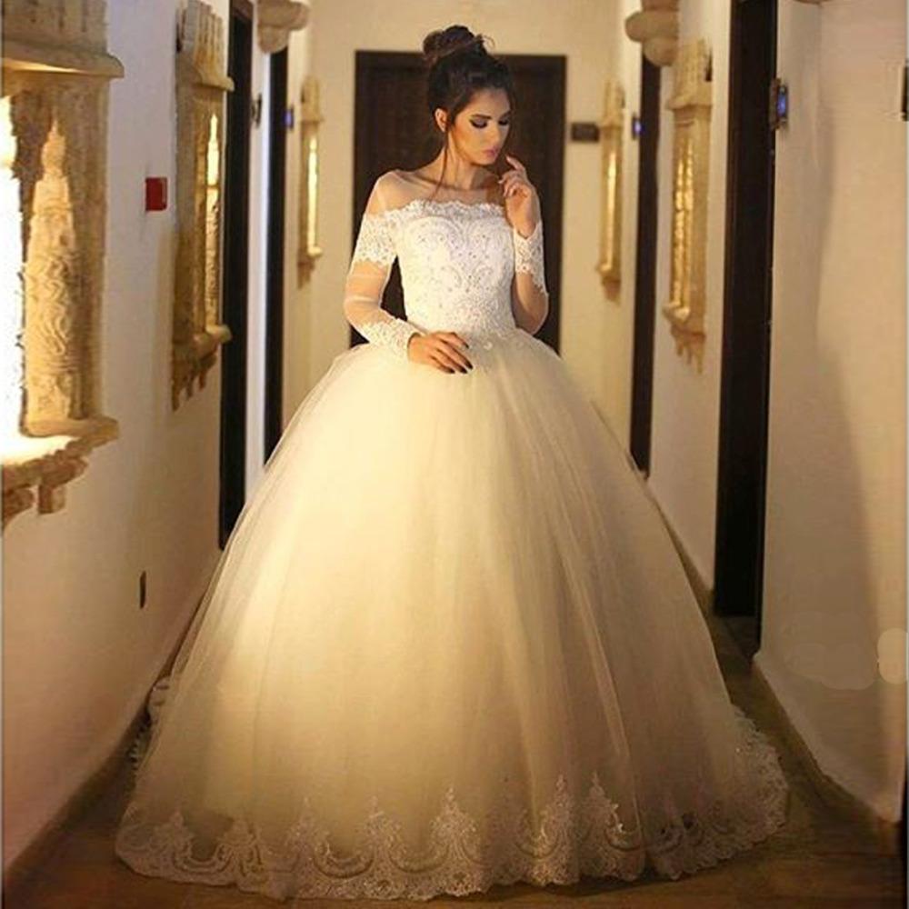 Халат де Mariage прозрачными длинными рукавами бальное платье свадебное платье Casamento 2016 Vestido Novia свадебные платья низкие цены в евро
