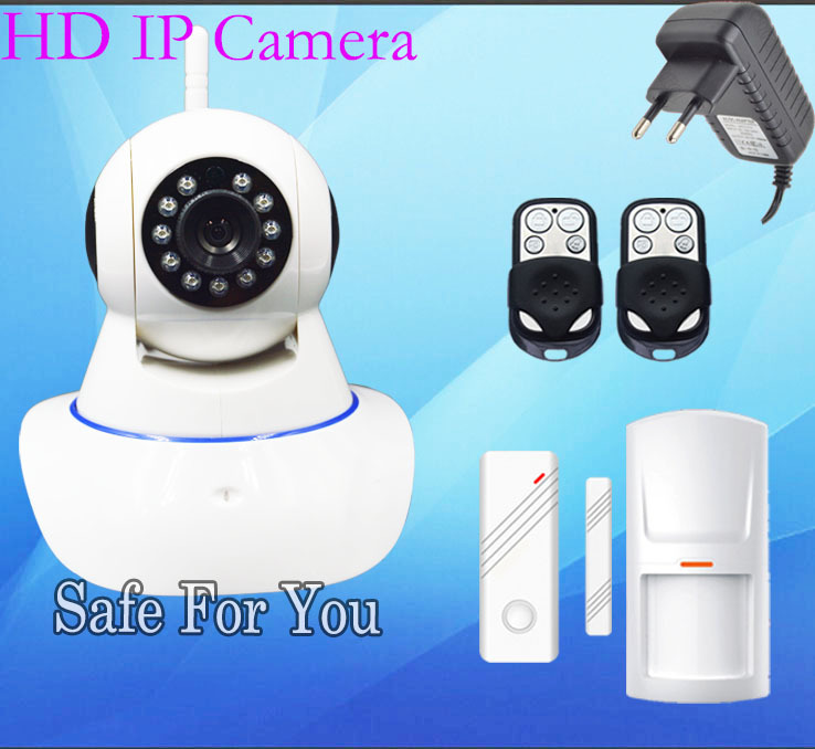 Free Shipping New Magnetic door PIR remote control IP Camera Wireless Sensor App and IOS for Wireless home security alarm system(China (Mainland))