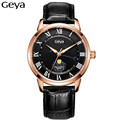 Mens Watches Moon Phase Geya Leather Quartz Watch Man Luxury Brand Waterproof Chronograph Sport Watch Men