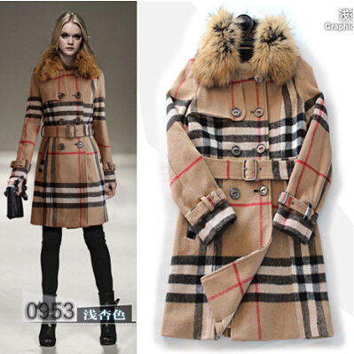 Free Shipping ! 2015 Winter Fashion New Brand Classic Plaid Real Raccoon Fur Collar Long Sleeve Thick High Quality Wool Coat(China (Mainland))