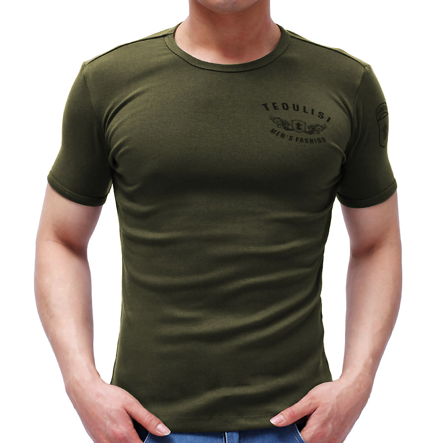 Free shipping men s military army green tight t shirt o for Tight collar t shirts