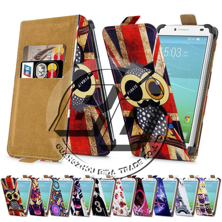 """Magnetic 5"""" Universal Print Leather Case For Alcatel One Touch Idol 2 6037Y 6037K 6037B 6037I Flip Case Cover Folio Bag Minion(China (Mainland))"""