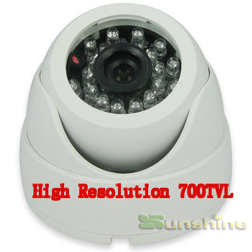 "New Arrival !!! 1/3"" Color CMOS Real 700TVL High Resolution IR Indoor Dome Camera CCTV Camera Free Shipping(China (Mainland))"