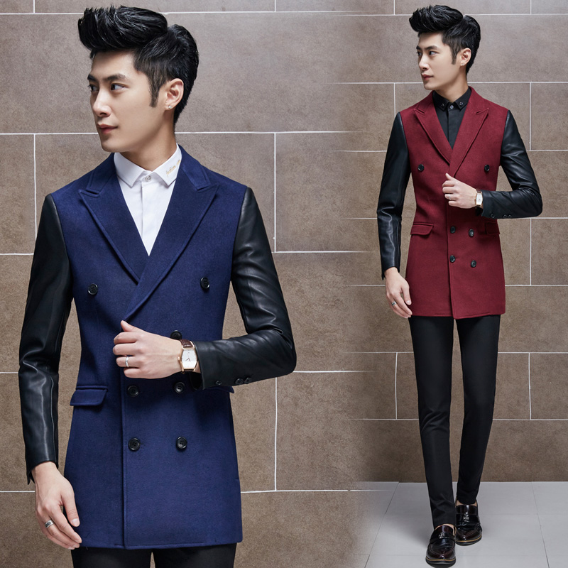 2016 new fashion boutique men leisure splicing sleeve trench coat / man's leather sleeve wool double-breasted long Blends coat(China (Mainland))