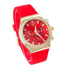 Moda Rhinestone mujeres se visten de silicona reloj de pulsera de cuarzo señora barato analógica Casual relojes para mujer