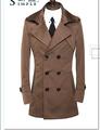 Brown Mens trench coats belt slim casual casaco masculino trench coat men male overcoat fashion jaqueta