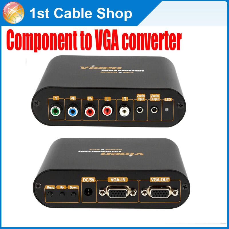 Free shipping&wholesale 1PCS VGA/Component Ypbpr to VGA converter for PS2/PS3/Wii with power adapter(China (Mainland))