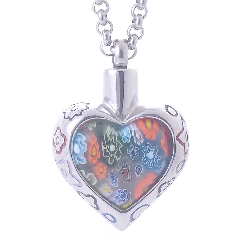 Bohemia Memorial Flower Patch murano glass Heart Pendant Necklace Stainless Steel Cremation Jewelry ash urn women perfume bottle(China (Mainland))