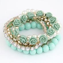 Charm Bracelets For Women Jewelry Rose Flower Multi-layer Wrap Flower Bracelets & Bangles Vintage Pulseras Mujer Pulseiras Femme(China (Mainland))