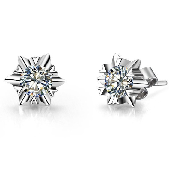Snow Flake Style0.6CT/Piece Solid 14K Gold Earrings Stud Certify Moissanite Engagement Gold Earrings Stud For Women Wedding(China (Mainland))