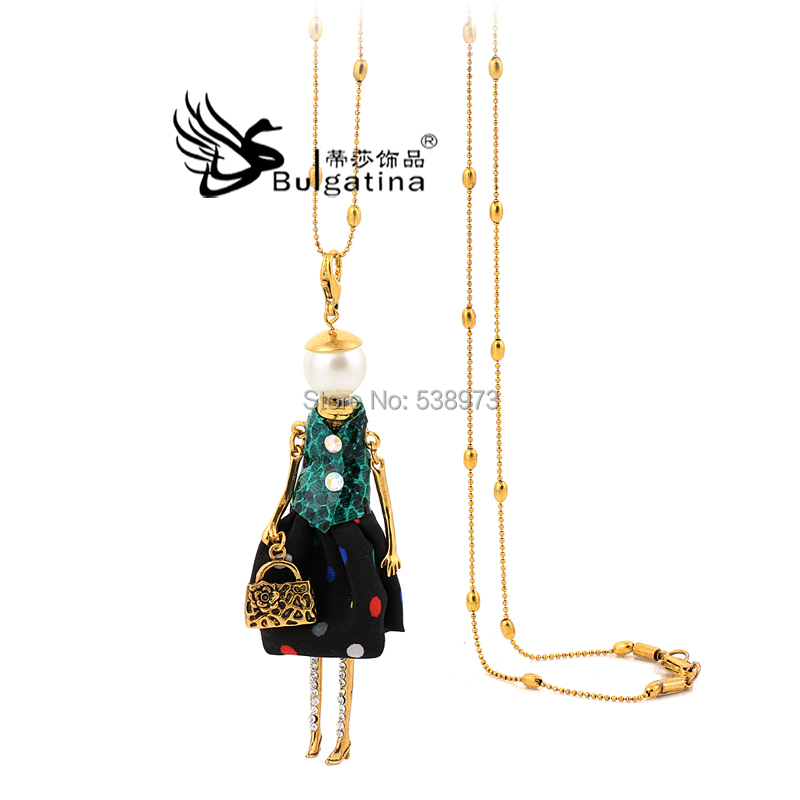 Fashion Lady's Gold plated Silver Crystal Long Necklace Doll Pendant Women Can Used Keychain - Disha Findings store