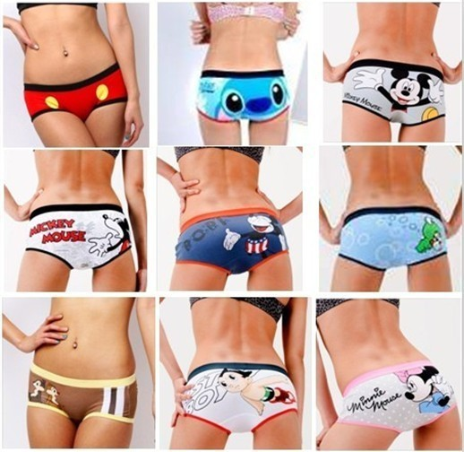 Mix Wholesale,New Cartoon,Cotton&Print Women Underwear,Teenage Panties,Waistline(60-70cm),Hip(75-90cm),Free Shipping!