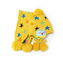 Baby Beanie Crochet Child Ear flap Kids Hat Scarf+Cap 2pc Five Pointed Star Hat Gift(China (Mainland))