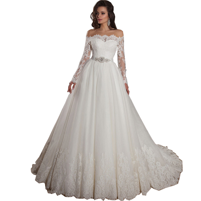 Vestidos de noiva 2015 off shoulder lace long sleeve ball for Plus size wedding dresses with color and sleeves