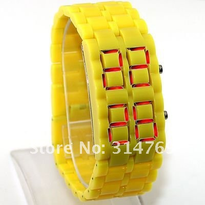 Здесь можно купить  10pcs/lot,Yellow Iron Samurai Lava Plastic LED Watch,Faceless Fashion Popular Wristwatch,LED Sports Watches,LED Bracelet  Часы