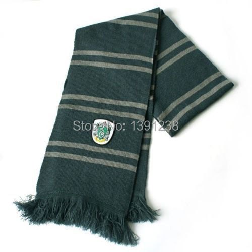Fashion New Arrival Cosplay New Harry Potter Slytherin Thicken Wool Knit Scarf(China (Mainland))