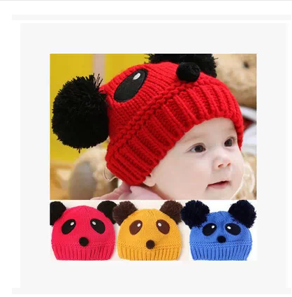 Baby hat baby child knitted winter thickening pocket male female autumn - 24 crazydeal store