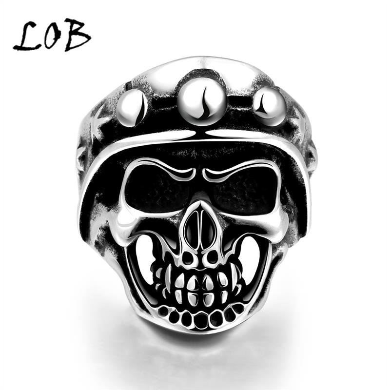 Men Jewelry 316L Stainless Steel Men's Skull Soldier Rings Punk Vintage Party Skeleton Jewelry Wholesale US Size 8-11(China (Mainland))