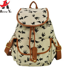 Attra-Yo! Free Shipping !2015 New Women's Travel Bags Canvas Backpack School Backpack Birds Women Hiking Backpacks LS1853(China (Mainland))