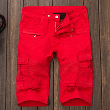 2016 Men's Punk Style Denim Shorts Jeans Pockets Straight Pants Only Red Has Holes 850148(China (Mainland))