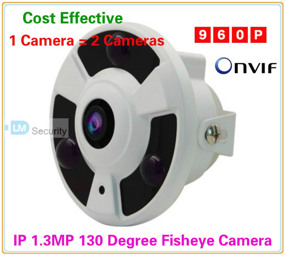 High Performance DSP 1/3'' CMOS Sensor 1.3 Megapixel 1.3mp 2.1mm 130 Degree Lens IP Network Fisheye Camera with Night Vision(China (Mainland))