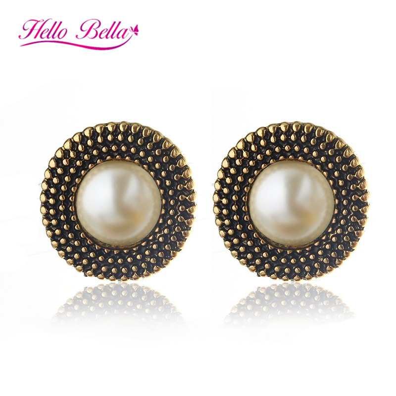 2016 Fashion Stud Earrings Vintage pearl jewelry plated gold Women Jewellery - Hello Bella store