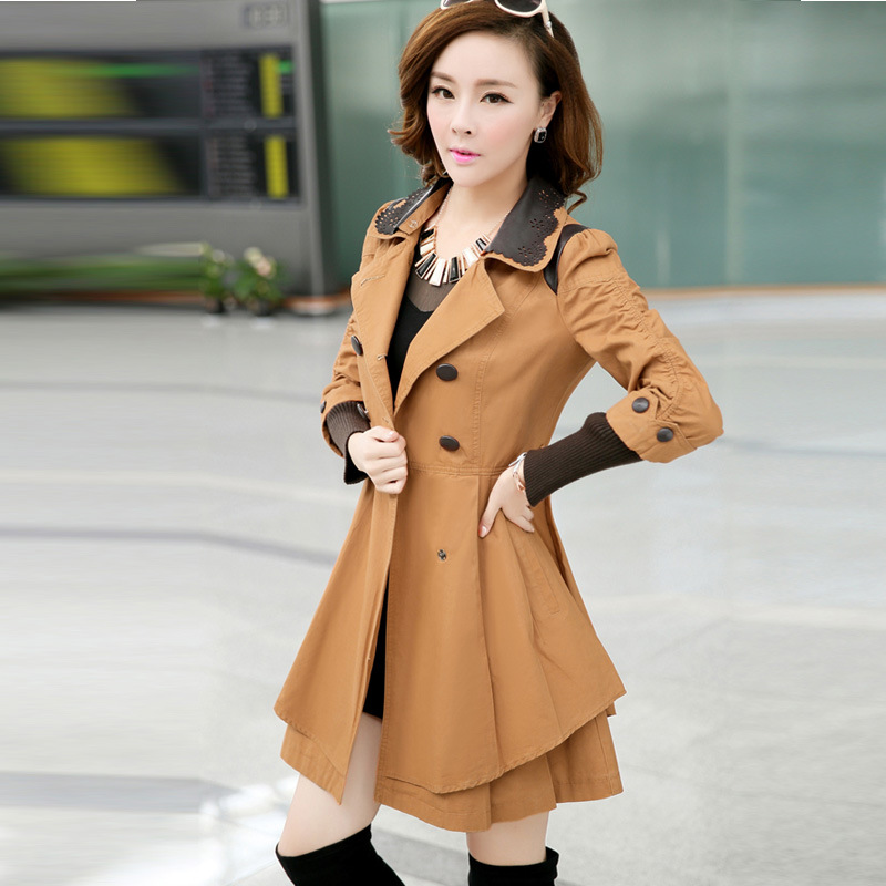 autumn winter Trench Coat new Slim Women Beige double breasted manteau femme Casual abrigos mujer(China (Mainland))