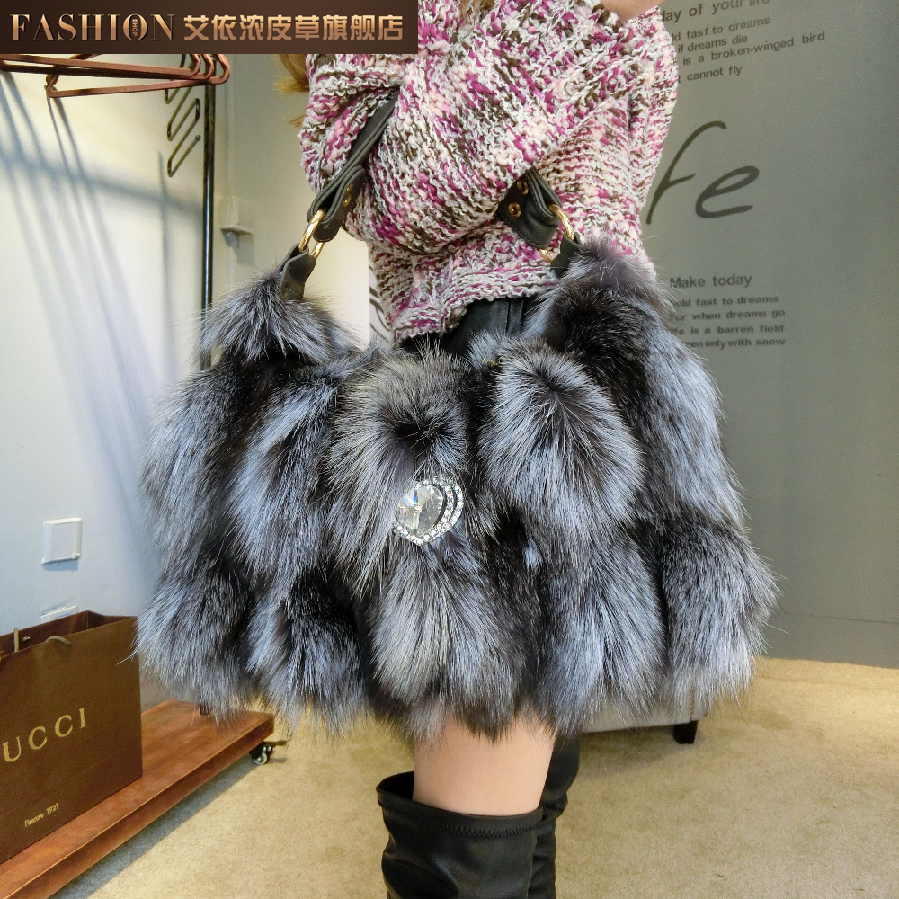 Fur bags Women fox tote bag winter women's genuine leather mink women's handbag autumn and winter(China (Mainland))