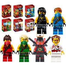 6pcs/lot New Original Ninjagoes Figures Ninja Minifigures With Weapons Building Bricks Blocks Compatible with Legoe toys
