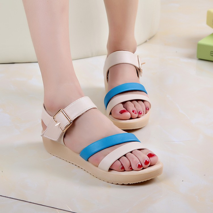 New Arrive 2016 Women sandals Hasp thick crust of mixed colors Summer Shoes, Korea Style Fashion Shoes Drop Shipping Size 36-40(China (Mainland))