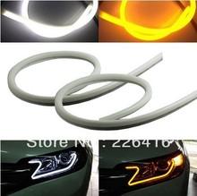 2x TUBE Style White-Amber Switchback Headlight LED Strip DRL Daytime Light NEW For OPEL Zafira B Astra H Corsa D Insignia(China (Mainland))