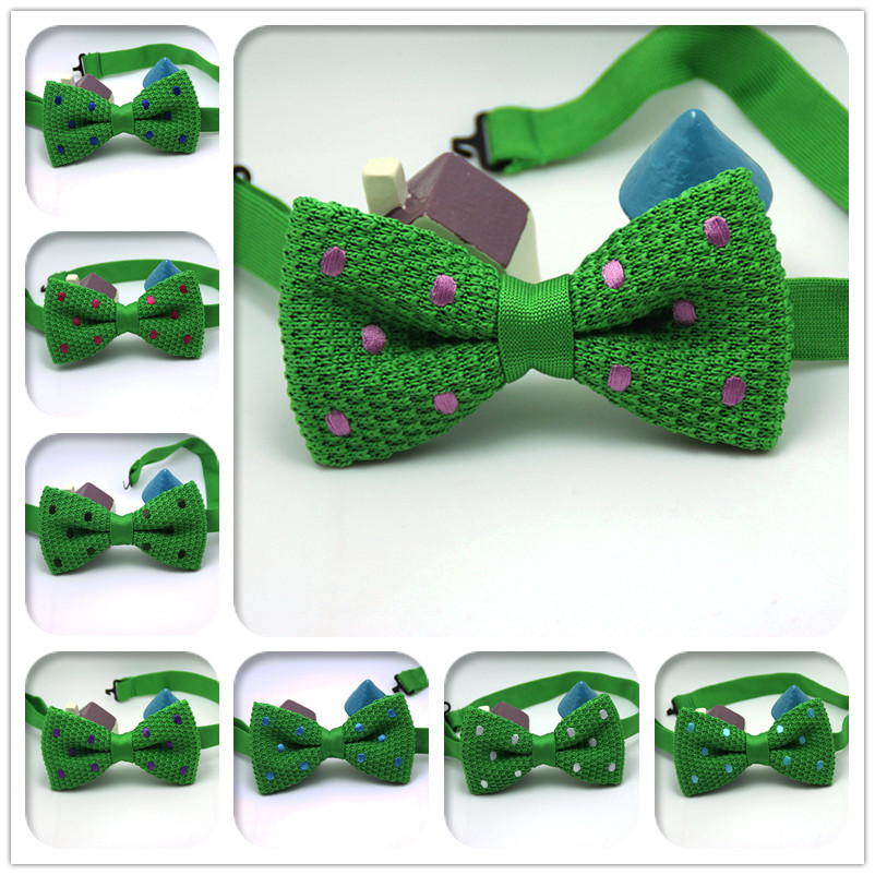 2015 brand new men pure color knitted bowtie tuxedo cashmere green Polka Dot tie nice quality 8 kinds styles