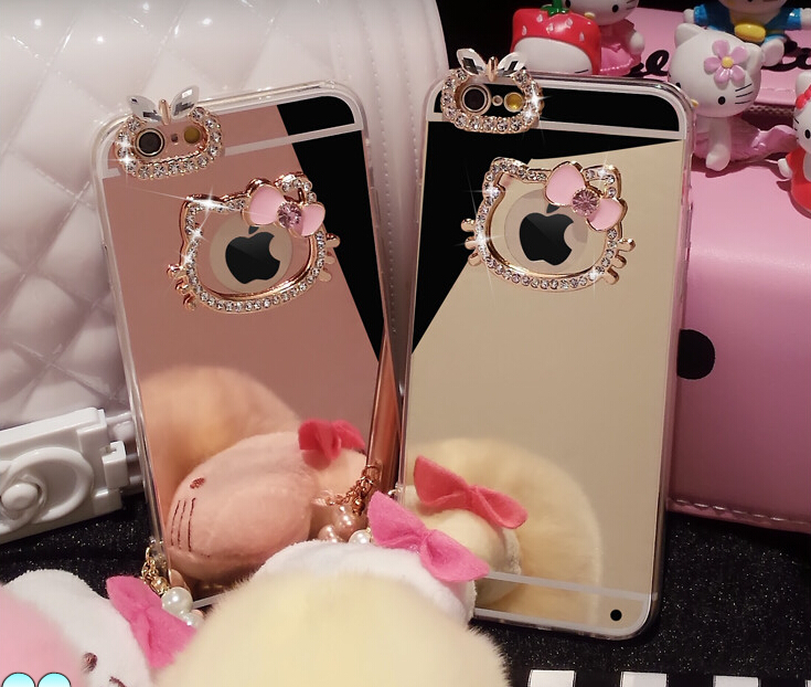 Beautiful Diamond Rhinestone Hello Kitty+Mirror Soft TPU case cover For Apple iphone 4 4s 5 5s SE 6 6s / plus(China (Mainland))