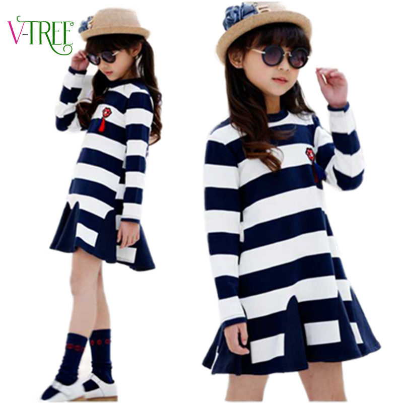 NEW spring long sleeve dresses for girls striped casual party dress teenage girls clothing 10 12 years children's designer dress(China (Mainland))
