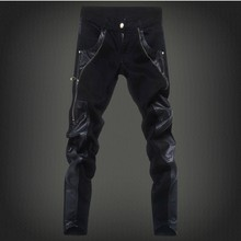 2017 New Men's Skinny Leather Pants Motorcycle Faux Leather Stitching Brand Sweatpants Jeans 9 styles Size:28-36 Free Shipping(China)