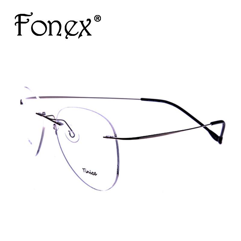 2016 New Fashion Pilot Rimless Glasses Memory Titanium Eyeglasses Myopia Optical Frame Brand 607 TINIZE(China (Mainland))