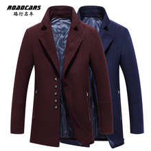 2015 New Brand Men's Windbreaker wool coat M-3XL cultivate one's morality   single-breasted lapel woolen cloth coat Free shippin(China (Mainland))