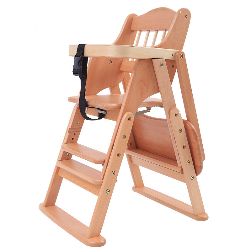High quality 0 8 years solid wood baby folding high chair for feeding childre
