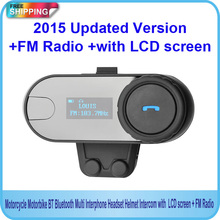 2015 neue aktualisierte Version!!( 3280ft) bt bluetooth motorradhelm intercom gegensprechanlage headset mit lcd-bildschirm + fm radio(China (Mainland))